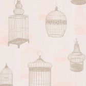 Zinc Avian Bird Cages Rose Wallpaper 450-67328