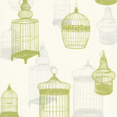 Zinc Avian Bird Cages Lime Wallpaper 450-67332