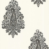 Zinc Dynasty Paisley Snow Wallpaper 450-67338