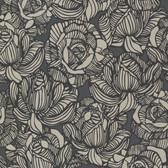 Zinc Calista Modern Rose Iron-Ash Wallpaper 450-67346