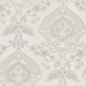 Zinc Ashbury Paisley Damask Iris-Dove Wallpaper 450-67365
