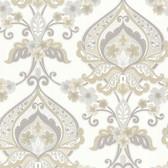Zinc Ashbury Paisley Damask Linen-Slate Wallpaper 450-67366