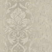 VIR98213 - Lulu Taupe Smiling Damask Wallpaper