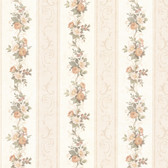992-68304-Lorelai Peach Floral Stripe wallpaper