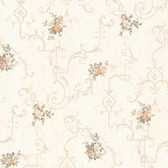 992-68309-Lori Peach Floral Trellis wallpaper