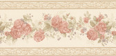 992B07566-Tiff Peach Satin Floral Border wallpaper