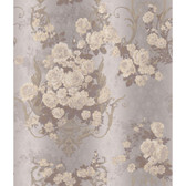 AR7702 - Charleston II Bouquet Damask Raised Print Wallpaper in Lavender, White, and Silver