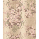AR7703 - Charleston II AR7703 Bouquet Damask Raised Print Wallpaper in Brown, Cream, Pink, Lavender, and Green