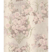 AR7705 - Charleston II AR7705 Bouquet Damask Raised Print Wallpaper in Cream, Pink, Lavender, and Green
