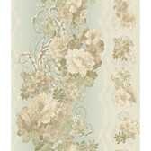 AR7716 - Charleston II Floral Stripe Pearlescent Wallpaper in Pink, Green, Cream, and Beige