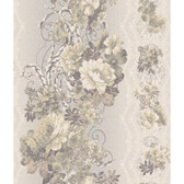 AR7721 - Charleston II Floral Stripe Pearlescent Wallpaper in Light Grey, Green, Cream and Metallic Grey