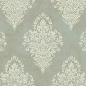AW7556 - Charleston II Woven Damask Pearlescent Wallpaper in Moss Green and Cream