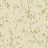 Silver Leaf II Bella Flaxen Wallpaper SL5676