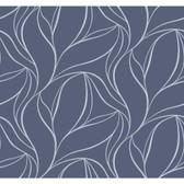 Silver Leaf II Aubrey Denim Wallpaper SL5696