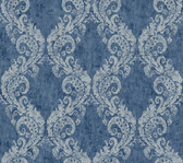 medium blue & dark blue & silver Watercolors Batik Ogee Wallpaper