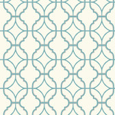 Watercolors Lattice Turquoise Wallpaper WT4619