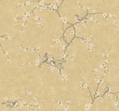 Handpainted III Birds W/Blossoms Granola-Ivory Wallpaper HP0324
