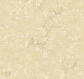 Handpainted III Birds W/Blossoms Bone-Tan Wallpaper HP0326