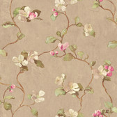 Handpainted III Floral Spray Tortilla-Fuschia-Pear Wallpaper HP0414