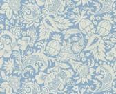 Echo Design 566-43966 Bali Blue Scrolling Pattern wallpaper