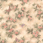 436-38573 - Lisa Peach Butterfly Floral  wallpaper