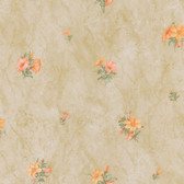 436-45103 - Petunia Peach Marble Floral wallpaper