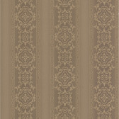 Simply Satin VI Camden Ornate Stripe Mocha Wallpaper 990-65001