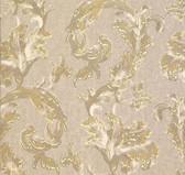 481-1425 Romeo Taupe Leafy Scroll wallpaper