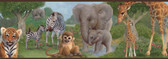 Afrique Jungle Bedtime Portrait Blue Border Wallpaper TOT46371B