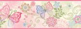 Fantasia Boho Butterflies Scroll Pink Border Wallpaper TOT46451B