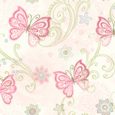 Fantasia Boho Butterflies Scroll Pink Wallpaper TOT47151