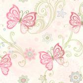 Fantasia Boho Butterflies Scroll Pink Wallpaper TOT47151