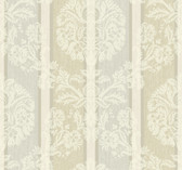 light grey, beige, light taupe, champagne sheen, cream Carey Lind Vibe  Woven Damask Stripe Wallpaper