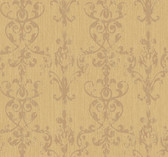 Weatherby Woods Distressed Damask Scroll Wallpaper Gold Glitter/Burnt Orange