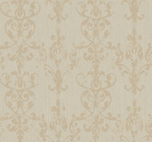 Weatherby Woods Distressed Damask Scroll Wallpaper Silver Glitter/Tan