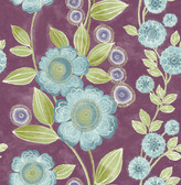 A-Street Prints Bloom Plum Floral