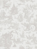 Zen Garden White Toile  wallpaper