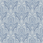 Barnes Blue Paisley Damask Wallpaper