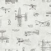 Douglas Black Vintage Planes Wallpaper