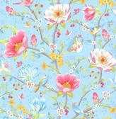 Leizu Light Blue Chinese Garden Wallpaper