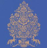 Till Dark Blue President Damask Wallpaper