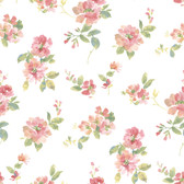 Captiva Peach Watercolor Floral Wallpaper