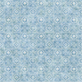 Shell Bay Blue Scallop Damask Wallpaper