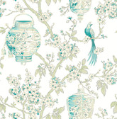 Serenity Teal Lanterns Wallpaper