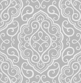 Heavenly Grey Damask Wallpaper