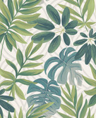 2763-24200 Nocturnum White Leaf Wallpaper