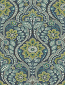 2763-12101 Night Bloom Navy Damask Wallpaper