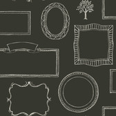 LG1366 Chalkboard Frames Wallpaper - Black