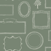 LG1367 Chalkboard Frames Wallpaper - Green