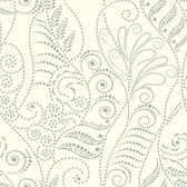CP1266 Candice Olson Modern Fern Wallpaper - Silver on White